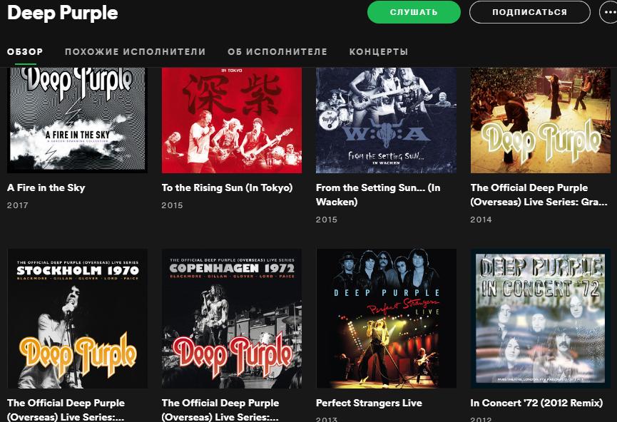 Deep Purple в российском Spotify