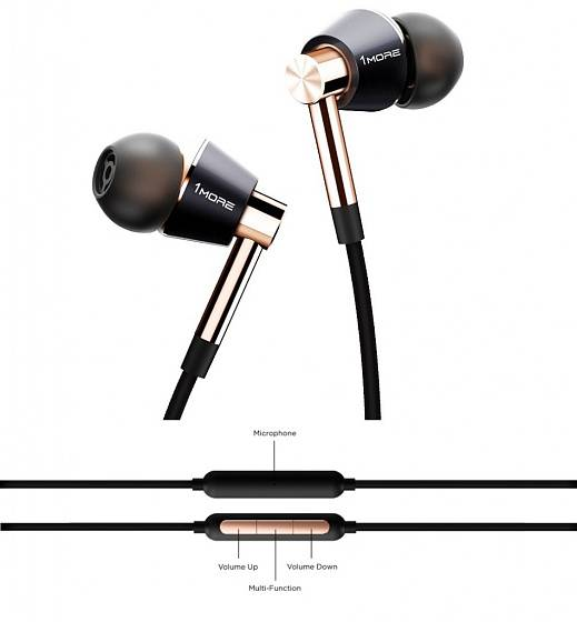 Наушники 1MORE E1001-L Triple Driver Lighting In-Ear Gold - рис.3