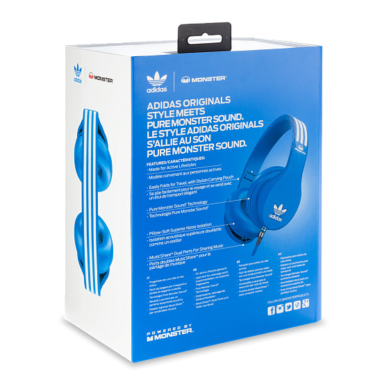 Наушники MONSTER ADIDAS® ORIGINALS OVER EAR HEADPHONES (BLUE) - рис.7
