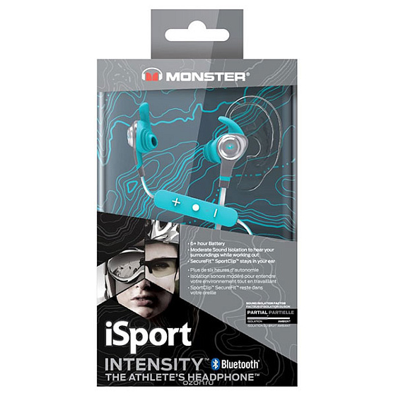 Беспроводные наушники Monster iSport Intensity In-Ear Wireless Blue - рис.3