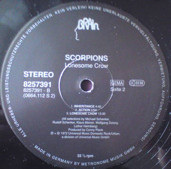 Пластинка Scorpions - Lonesome Crow - рис.3