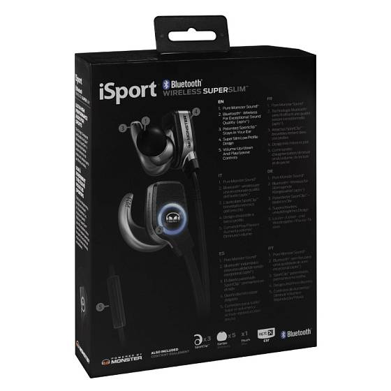 Беспроводные наушники MONSTER ISPORT BLUETOOTH WIRELESS SUPERSLIM IN-EAR (Black) - рис.4